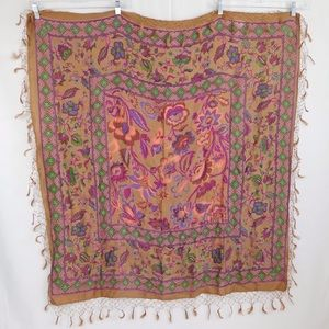 Eastern Trends Square Tapestry Fringed Scarf Wrap